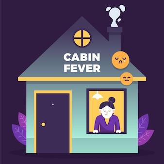 Mulher olhando através do conceito de febre de cabine de janela