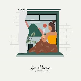 Mulher olhando pela janela enquanto está sentado na janela em casa. ficar em casa e novo estilo de vida normal. Vetor Premium