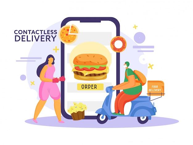Mulher on-line encomendando comida de smartphone com entregador, montando scooter na entrega sem contato para evitar o coronavirus.