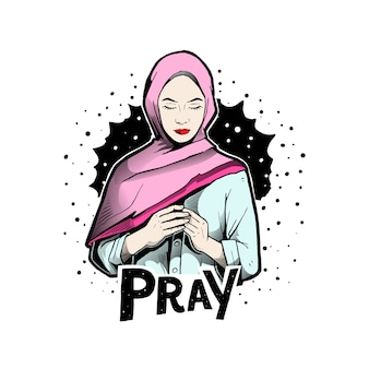 Mulher orar com hijab
