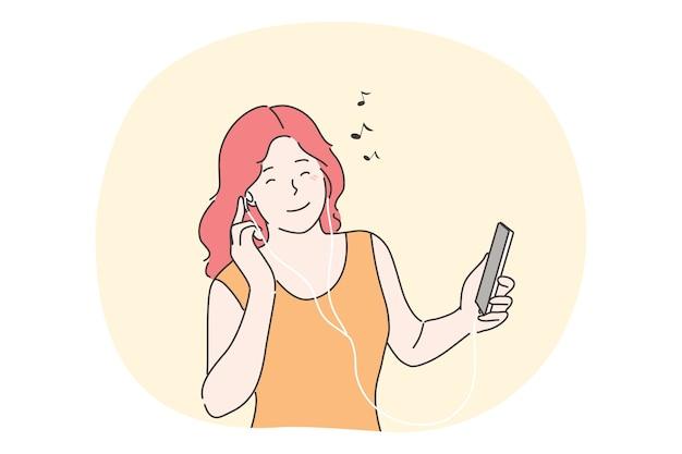 Mulher ouvindo o conceito de música.
