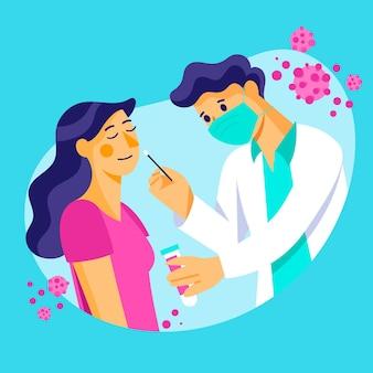 Mulher paciente e médico fazendo um teste de zaragatoa nasal