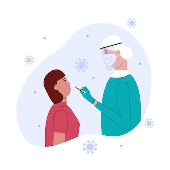 Mulher paciente fazendo um teste de zaragatoa nasal