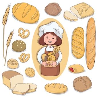 Mulher padeiro com diferentes tipos de pão e produtos de confeitaria caseiros