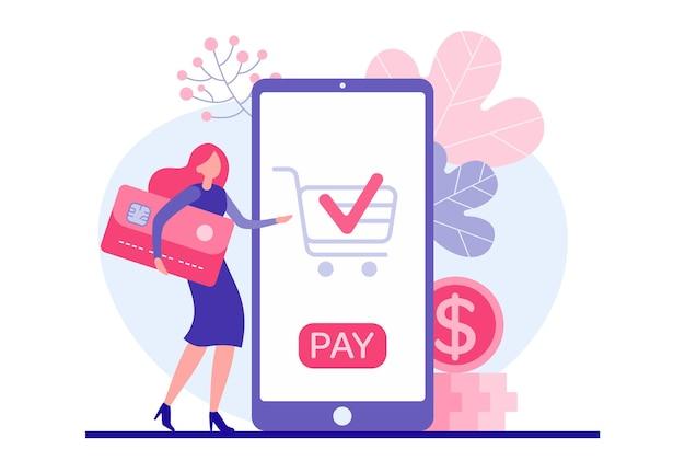 Mulher paga compra online por ilustração de cartão de crédito. personagem feminina com cartão com chip vermelho paga pelo produto no aplicativo móvel da web. confortável marketing e comércio na internet
