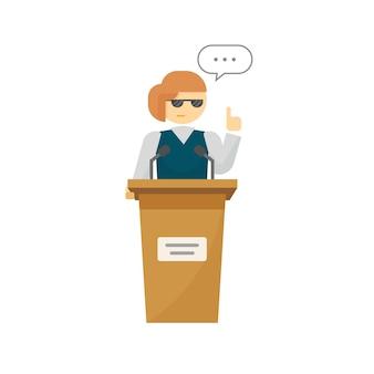 Mulher palestrante plana dos desenhos animados na tribuna debatendo ou falando sobre a votação