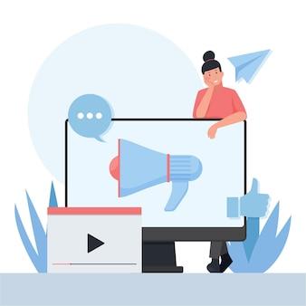 Mulher parada atrás do monitor com megafone e uma metáfora de vídeo de relações públicas
