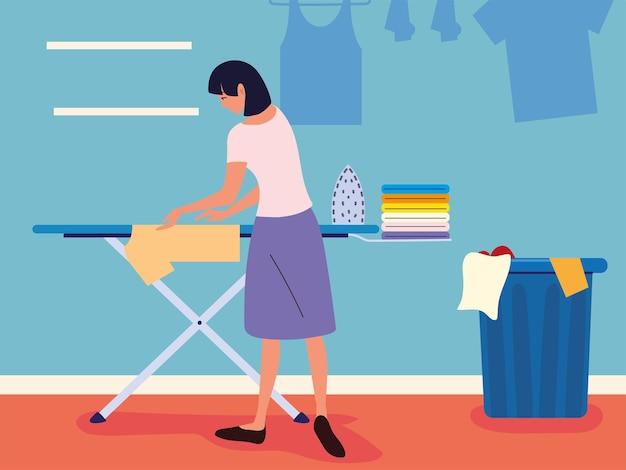Mulher passando roupas