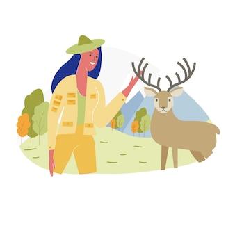 Mulher passar o tempo no zoológico, comunicando-se com veados