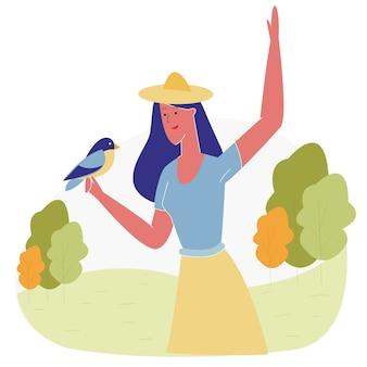Mulher, passar tempo, em, animal, parque, alimentação, pássaros