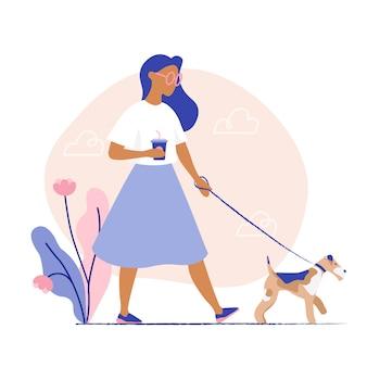 Mulher passeando com o cachorro. ilustração vetorial plana
