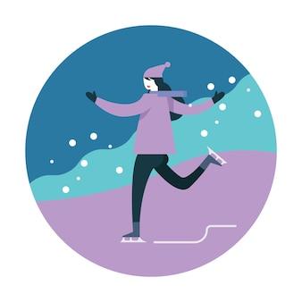 Mulher, patinação gelo, durante, inverno