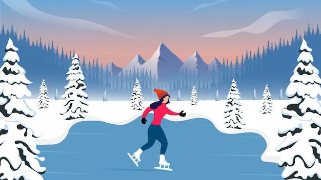 Mulher patinando em dia de inverno com paisagem de montanha