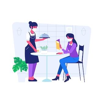 Mulher pedindo comida, usando máscara durante a situação de pandemia de covid19 estilo de desenho animado simples