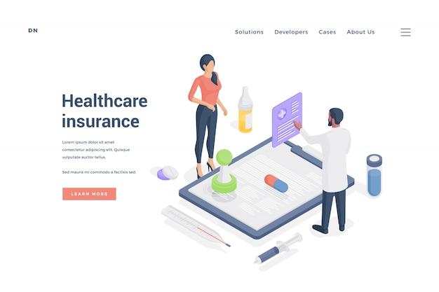 Mulher pedir seguro de saúde do agente. ilustração