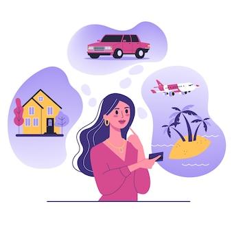 Mulher pensa em casa, carro e férias no mar. personagem feminina sonha com riqueza. ilustração