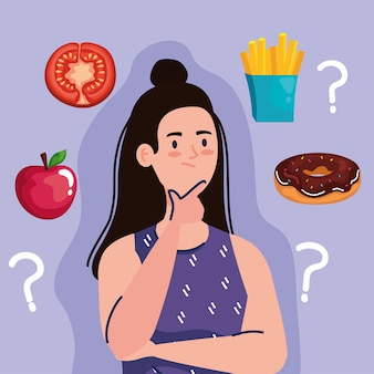 Mulher pensando com pontos de interrogação sobre design de fast food, comida não saudável e tema de restaurante.