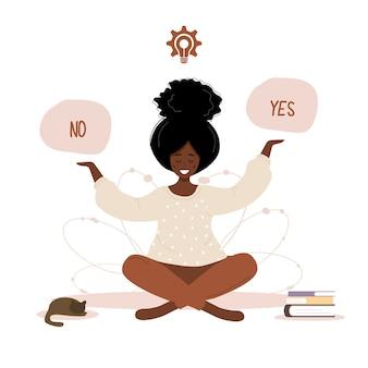 Mulher pensando em escolher sim ou não