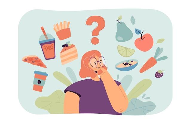 Mulher pensando na escolha de lanches saudáveis e não saudáveis