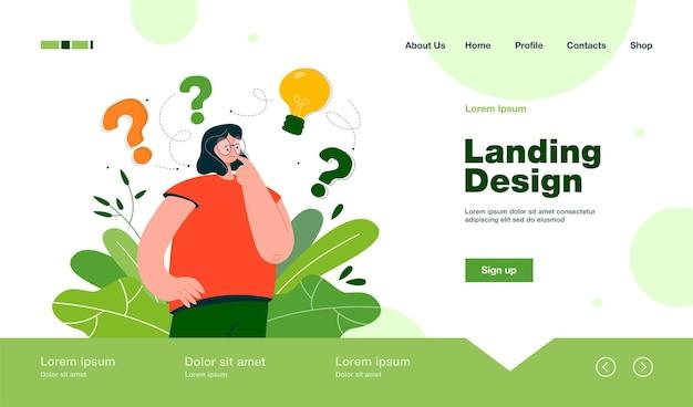 Mulher pensando na ideia landing page em estilo simples.