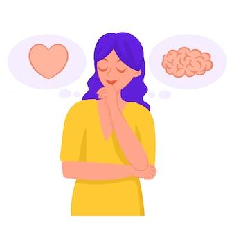 Mulher pensando. o coração ou o cérebro. dúvidas.