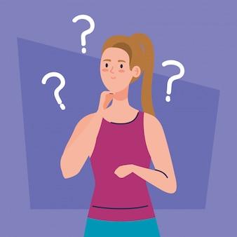 Mulher pensativa, jovem mulher pensando ou resolvendo problema