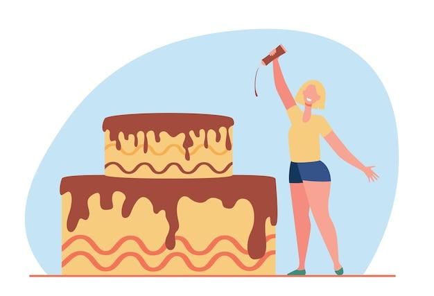 Mulher pequenina feliz vitrificando bolo com chocolate. ilustração de desenho animado