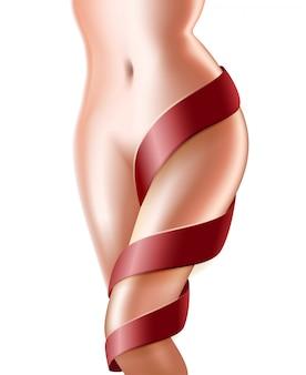 Mulher perfeita magro corpo saudável com laço vermelho