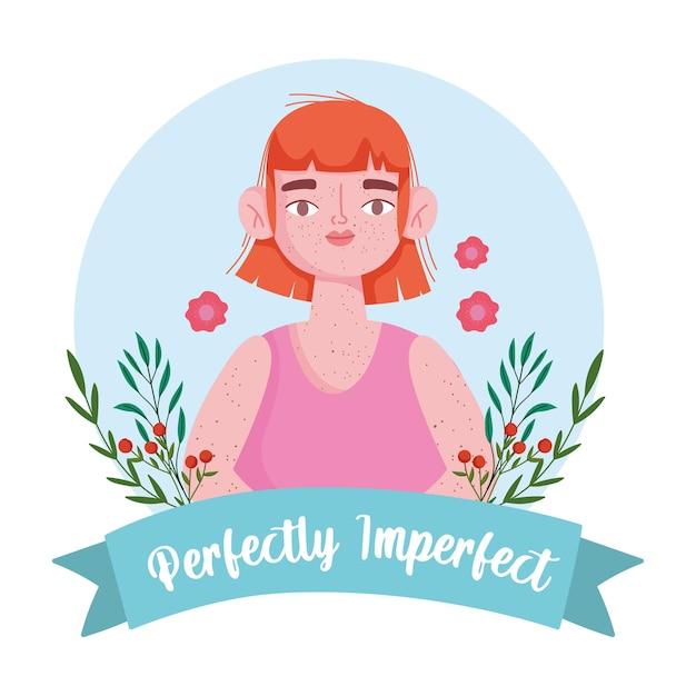 Mulher perfeitamente imperfeita com retrato de desenho animado de sardas, ilustração de decoração de flores