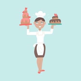 Mulher personagem chef profissional com deliciosas sobremesas de bolo, padeiro feminino vestindo uniforme tradicional, trabalhando em restaurante ou café.