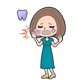 Mulher personagem de desenho animado bonito, dor de dente