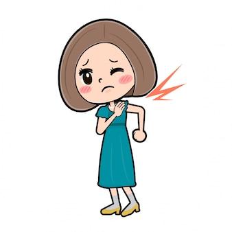 Mulher personagem de desenho animado bonito, ombro rígido