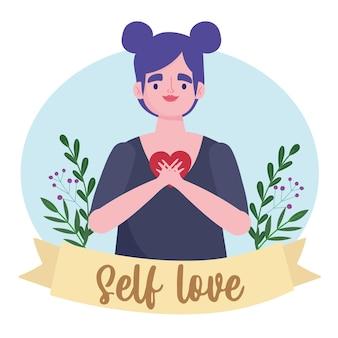 Mulher personagem de desenho animado com ilustração de amor próprio coração