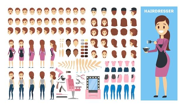 Mulher personagem salão cabeleireiro definido para a animação