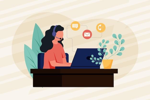 Mulher plana de suporte ao cliente ilustrado