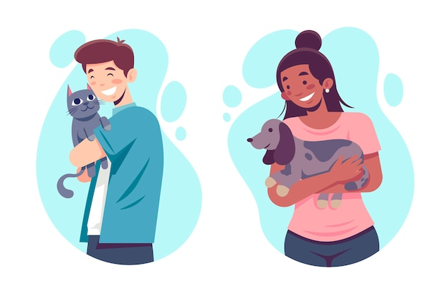 Mulher plana e homem com animais de estimação