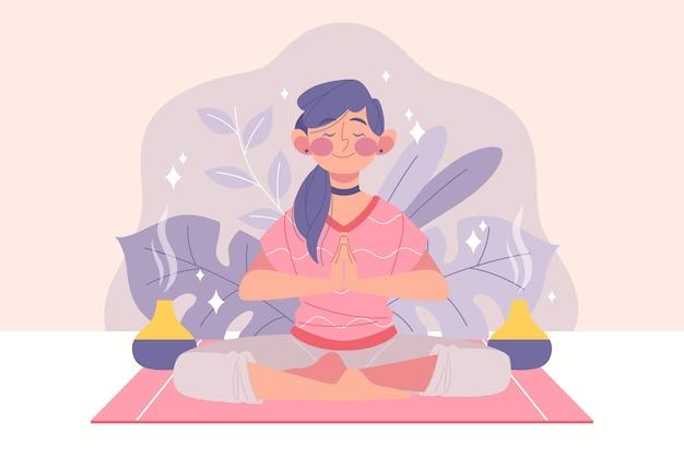 Mulher plana orgânica meditando