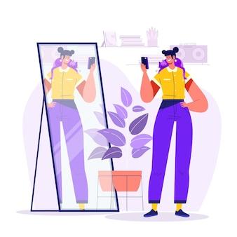 Mulher plana tirando foto no espelho