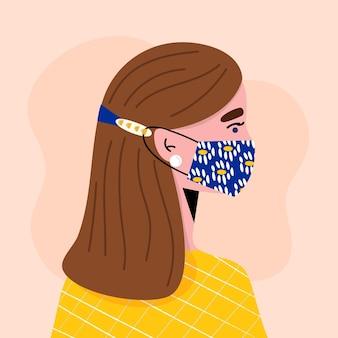 Mulher plana usando uma alça de máscara médica ajustável