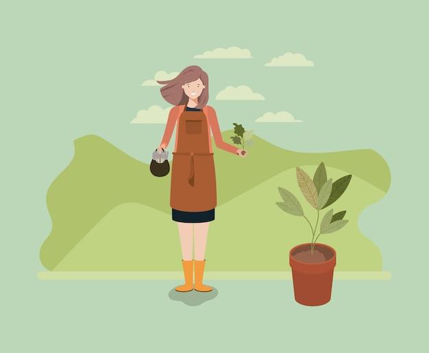 Mulher plantando árvore no parque