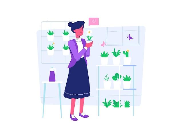 Mulher plantando em casa estilo cartoon plana