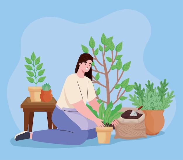 Mulher plantando personagens