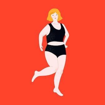 Mulher plus size em maiô corpo positivo dançarina em top preto e calças hipster curvy feminino