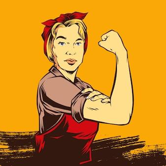 Mulher poderosa forte retrô em quadrinhos
