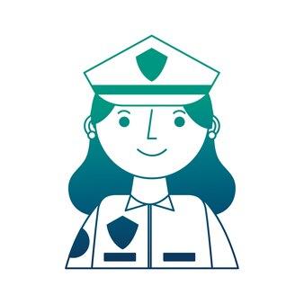 Mulher policial em retrato de personagem uniforme