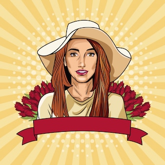 Mulher pop art com banner e flores de fita Vetor Premium