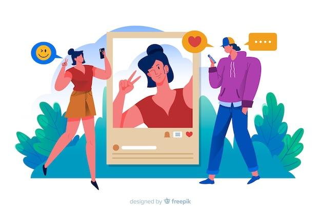 Mulher postando fotos nas mídias sociais e homem gosta deles
