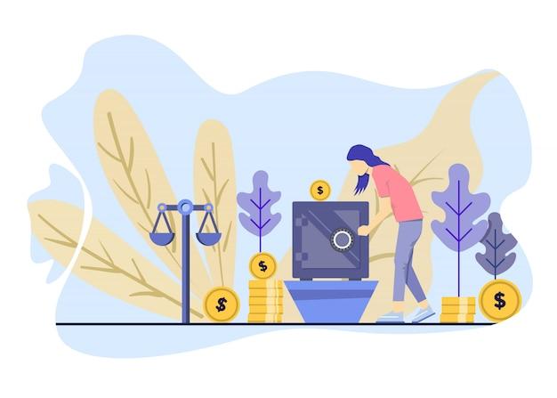Mulher poupar dinheiro em um cofre, ela investe conceito de ilustração