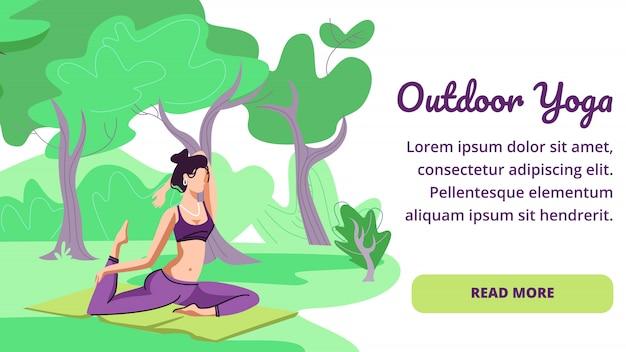 Mulher prática de ioga ao ar livre. estilo de vida saudável