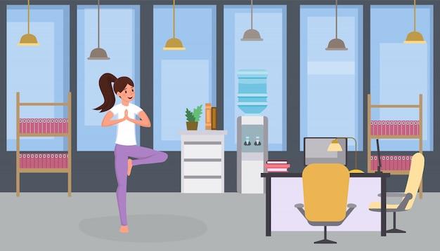 Mulher, prática, ioga, em, escritório